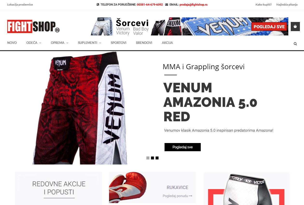 Dobrodošli, pred vama je novi, redizajnirani sajt fightshop.rs